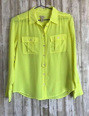 b00d5028908484 J.Crew Blythe Blouse Vibrant Neon Yellow Button Down Long Sleeve Top 4 S  Small