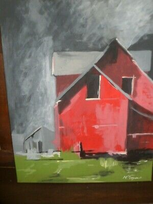 Red barn abstract realism painted portrait canvas