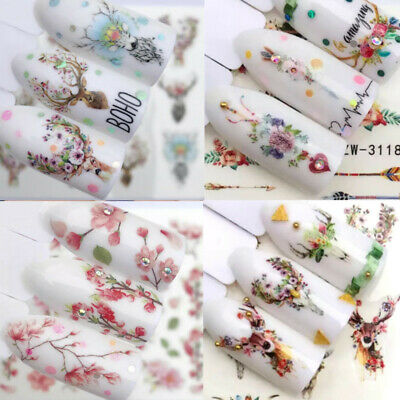 Boho 3D Nail Art Wraps Water Flowers Bouquet Cats Watercolour Transfers Decals