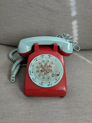 Vintage Bell System Western Electric Rotary Phone Two Tone Red Aqua