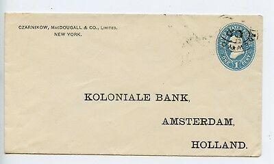 USA 1898 postal stationery envelope New York to Koloniale Bank Amsterdam (R012)