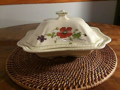 Steubenville IVORY covered vegetable dish 10 x 10 Vibrant Flowers BEAUTIFUL!