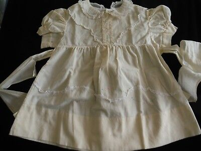 Vintage 50s Toddler Cotton Dress Solid Pale Yellow Lace Trim Short Sleeved