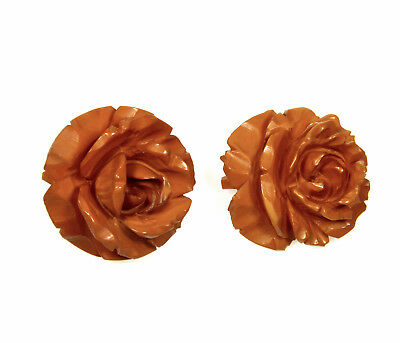 Antique Victorian A Pair Of Hand Carved Bakelite Roses Pins / Brooches