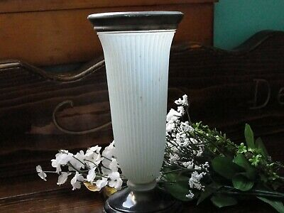 Art Deco Vase Bohemia frosted blue fluted glass Collectible