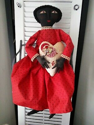 """Primitive Handmade black lady -in -red doll/25"""" w/7"""" heart"""