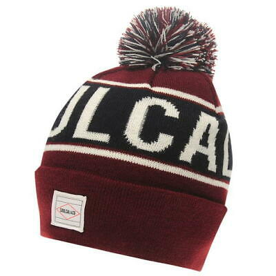 Mens Soulcal Red Burgundy Woolly Ribbed Cuffed Knitted Skiing Bobble Beanie Hat
