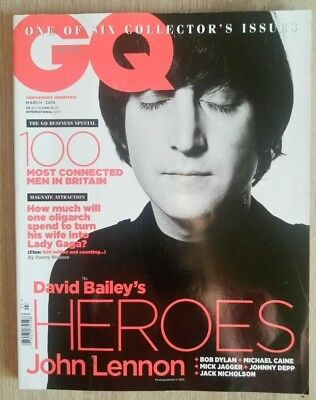 Gq British Magazine March 2014, John Lennon, Mick Jagger, Bob Dylan, Johnny Depp