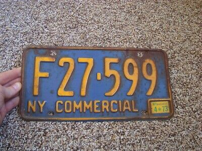 1973 New York Commercial #F27-599 Vintage Commercial License Plate*