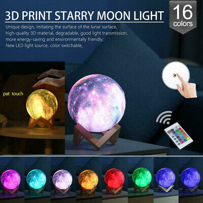 3D Print Galaxy Star LED Moon Lamp 3/7/16Color Changing Touch Desk Night Lights