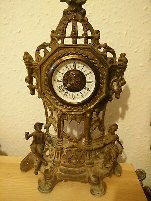 West German Vintage Rococo Style Manual Carriage Clock figurine antique