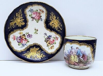 18th c Antique Sevres Porcelain Cup & Saucer Lovers Portrait w Cobalt & Gold