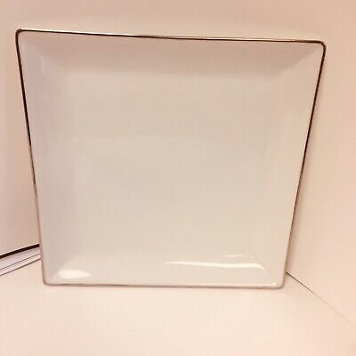Charter Club Fine Line Square Platinum Grand Buffet Soup Salad Dessert Plate New