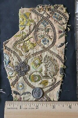 Rare 1600- 1700s French Or Italian Silk Metallic Brocade Fabrics~ Squirrel Motif