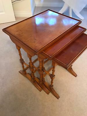 Solid Yew Wood nest of 3 side tables