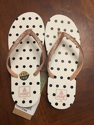 e5d28d67954af REEF Kids Little Stargazer Prints Girls Size 4-5 Vintage Dot Sandals New