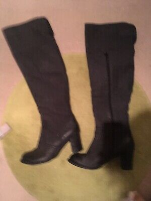 Immaculate Condition Over The Knee Hush Puppies Black Leather Boots Size 9