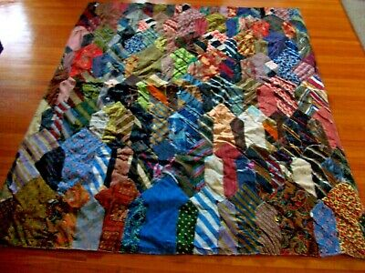 Vintage Crazy Quilt Made From Silk Men's Ties