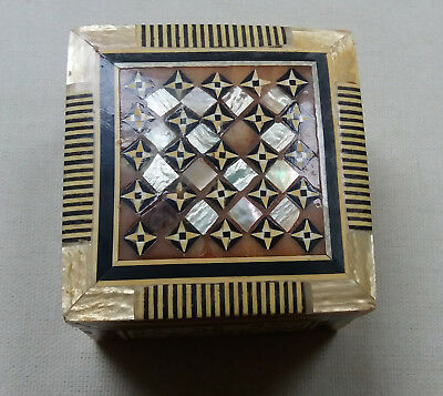 Vintage antique wooden mother of pearl inlaid geometric jewellery trinket box