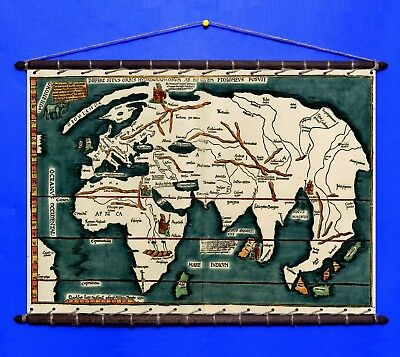 Antique Old Ptolemy World Map 1522 Cotton Canvas With Vintage