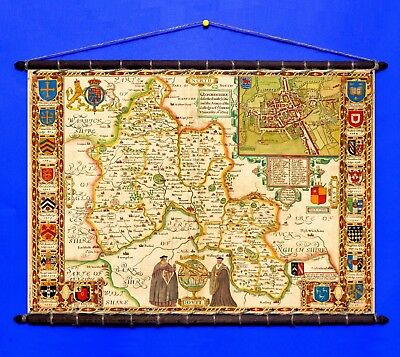 Antique Old Decorative Map of Oxford, 1611 Cotton Canvas, Vintage Wooden Hangers