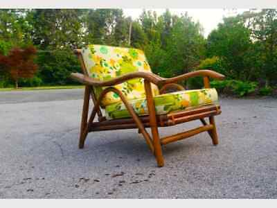Vintage PAIR Mid Century Bentwood 'Bamboo/Rattan' Birch Lounge Chairs