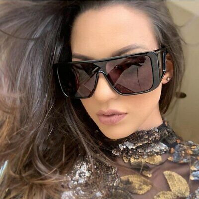 Large Square Side Panel Sunglasses Eyewear Oversize Retro Vintage Fashion Shades