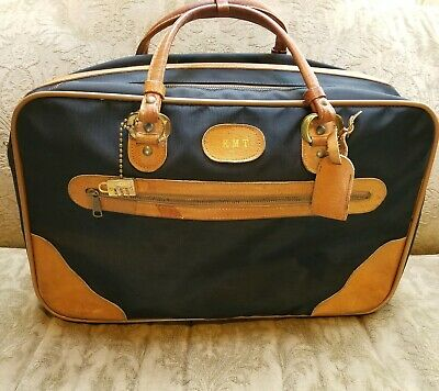 INVICTA VINTAGE  BLACK Soft Sided VINYL w TAN LEATHER  Luggage Travel Carryon