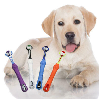 Three Sided Pet Cleaning Brush For Dogs Cats ToothBrush Teeth Care NEW
