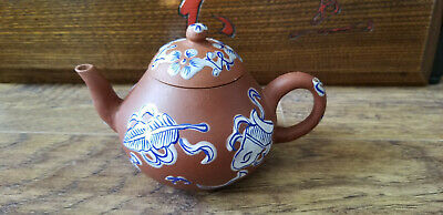 Antique Chinese Yixing Zisha Black And Red Clay Teapot With Blue / White