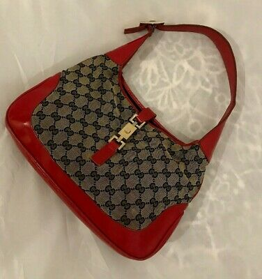 24c61281197c1 VINTAGE GUCCI JACKIE O Red Leather GG Needs TLC Authentic Shoulder Purse