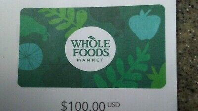 $100 Whole Foods E-gift cards physical shipment only
