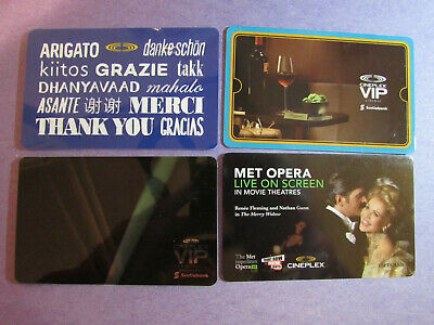 Cineplex Odeon Canada 2019 Gift Cards 4-Different No Value