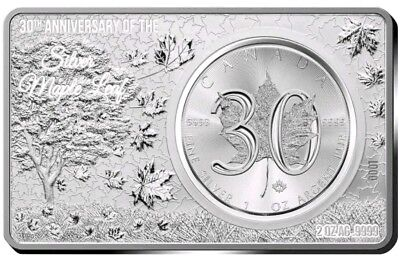 2018 3 Oz Silver $5 30TH ANNIVERSARY CANADIAN MAPLE LEAF Coin Set.