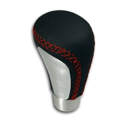 Akhan SK895 Leather Gear Stick Knob Black with Red Stitching and Brushed...