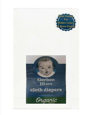 Gerber Baby Cotton Prefold Birdseye Cloth Diapers White Pack of 10