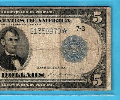 ***    Star  1914  $5.00 Blue Seal Fed Res Note Star Serial Number  ****