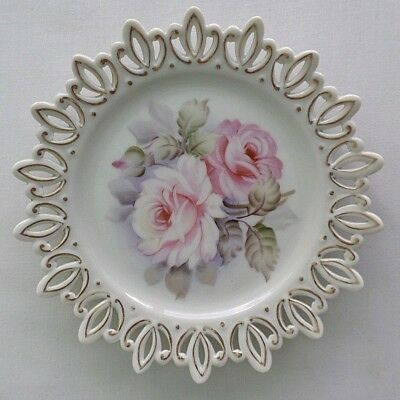 Vintage Lefton, Pink Rose Pierced Decorative Plate with Gold Trim. Hand-Painted