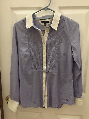 bac9f6e4 TOMMY HILFIGER WOMENS Chambray Button Down Shirt Large - $13.95 ...