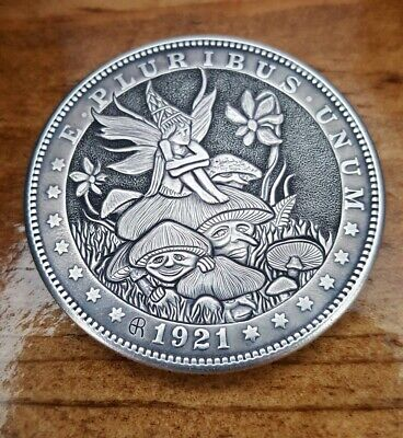 Hobo Nickel Fairy Wonder hand engraved 1921 Morgan Dollar by Eddie Romero