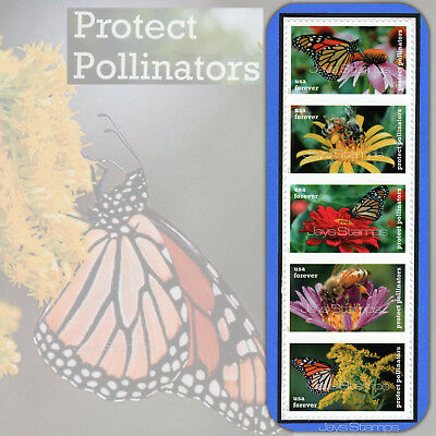 2017  PROTECT POLLINATORS  Forever®  Strip of 5  MINT in Random order  #5228-32