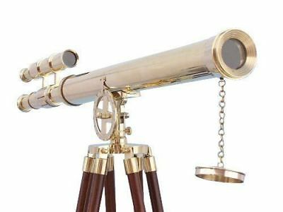 Antique Solid Brass Telescope Vintage Double Barrel Scope W/Wooden Tripod Item.