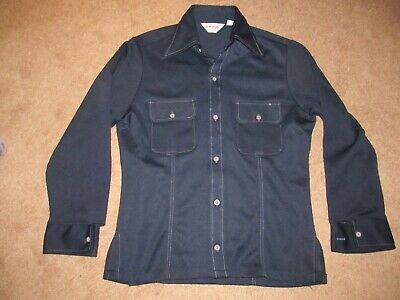 Blue 1970's Wrangler Polyester Long Sleeve Shirt-Adult M-USA
