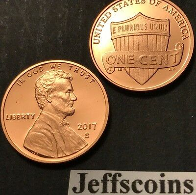 2017 S Lincoln Shield Cent Proof Deep Cameo 1¢ New Penny Union via US Mint Set