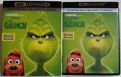 Dr. Seuss' The Grinch 4K Ultra Hd Blu Ray 2 Disc Set + Slipcover Sleeve