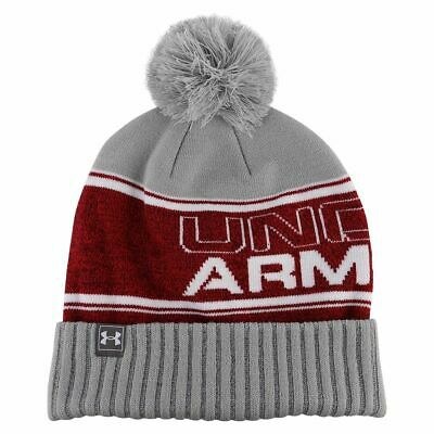 db02cb06add NEW MENS Under Armour UA Retro Pom Beanie Knit Cuff Beanie One Size RED GRAY