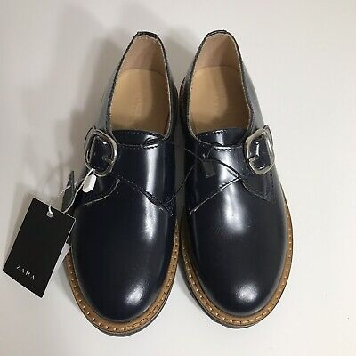 6fd826714a12 New Zara Girl Kids Navy Blue Slip On Leather Shoes Size US 12 Euro 30