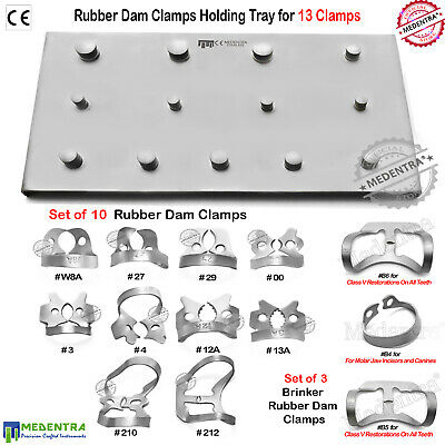 Unique Rubber Dam Clamps Set Premolar Lower Molar Jaws With Clamp Holding Tray
