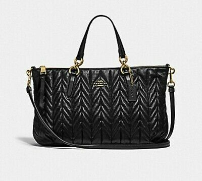 76f3ed33e105 NWT  550 COACH Black Quilted Leather Ally Satchel Crossbody Bag Purse