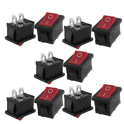 25pcs AC 6A/250V 10A/125V ON-OFF I/O SPST 2 Pin Snap in Rocker Switch Red Button